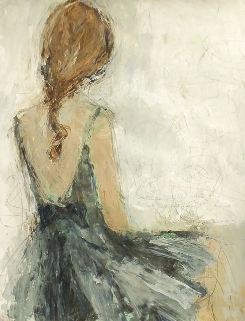 Romantic painting of girl in teal dress by Holly Irwin