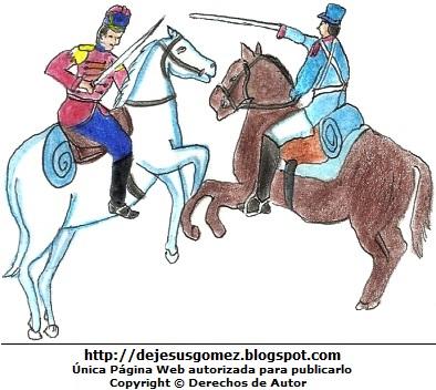 Dibujo de la Batalla de Junín a colores para niños. Dibujo de la Batalla de Junín hecho por Jesus Gómez
