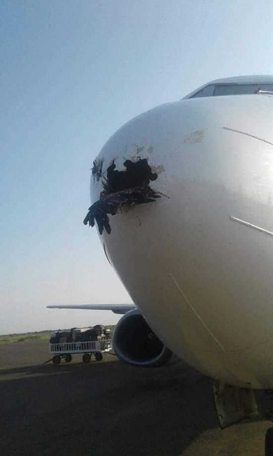 اصتدام طائره صقور الجديان بطائرة شركه تاركو للطيران بمطار الفاشر