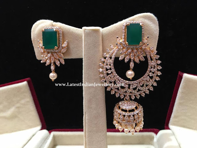 Detachable Chandbali CZ Earrings