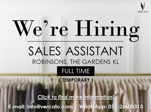 VERCATO: Job Vacancy for Sales Assistant in May 2016