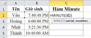 tinhoccoban.net - Hàm Minute trong Excel