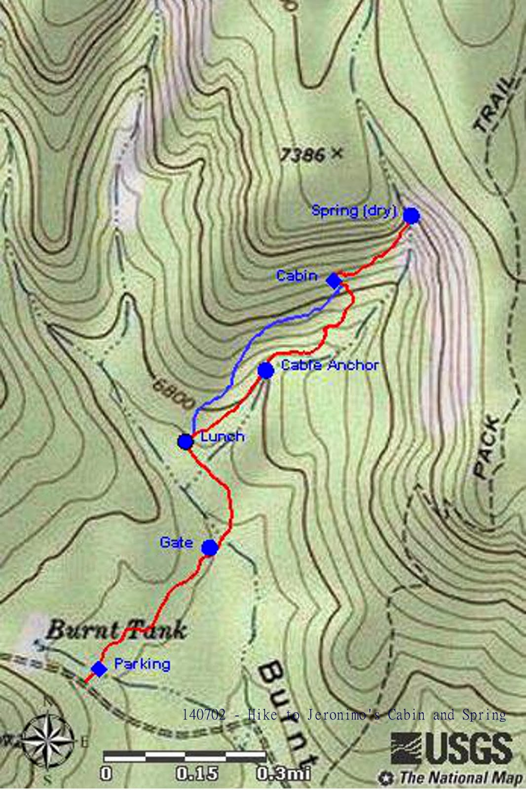 7196 feet and the total ascent was 860 feet the distance from fr 413 to the cabin was 1 1 miles and the distance from the cabin to the spring was 0 2