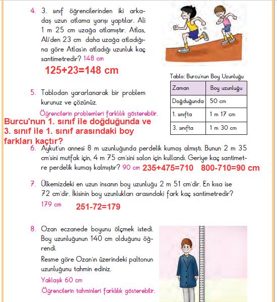 3. Sınıf Berkay Yayınları Matematik Ders Kitabı 154.Sayfa Cevapları