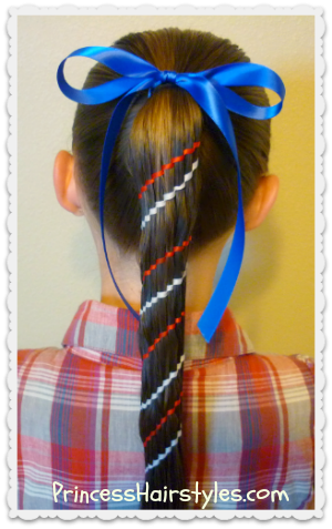 Red, White, and Blue, Waterfall Twist Carousel Braid (Aztec Braid)