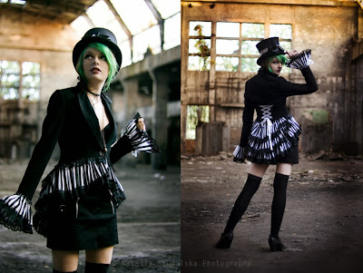 Steampunk costume includes top hat, goggles, skirt, jacket with bustle and cuffs.