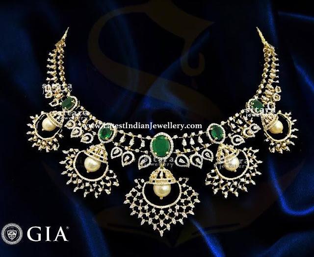 Chandbali Inspired Diamond Necklace