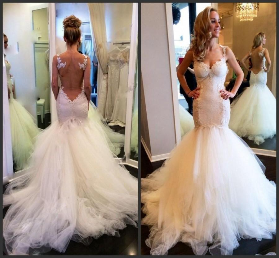 Backless Wedding Gowns: Fishtail Tight Mermaid Backless Wedding Dress