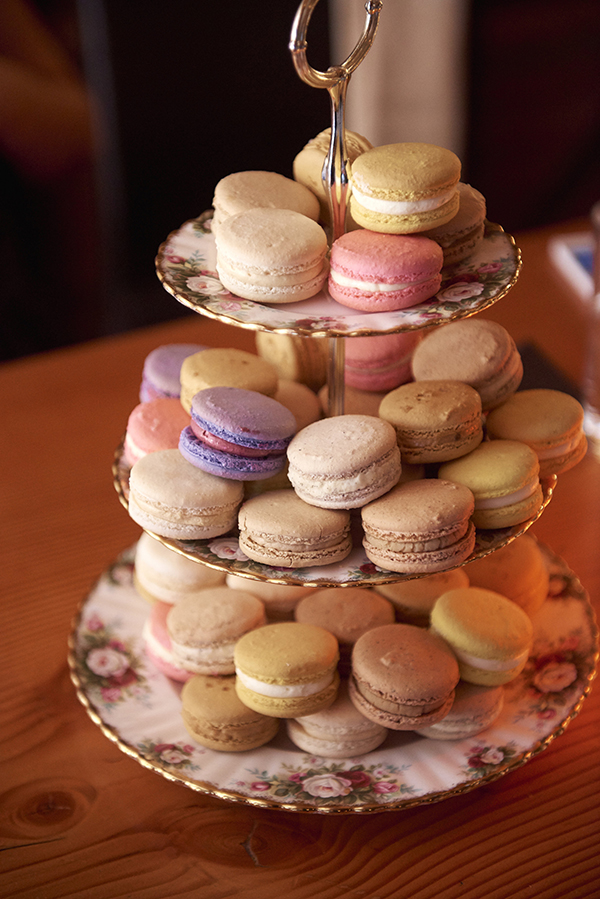 Thierry macarons on a tiered vintage shabby chic style cake stand from Bespoke Decor