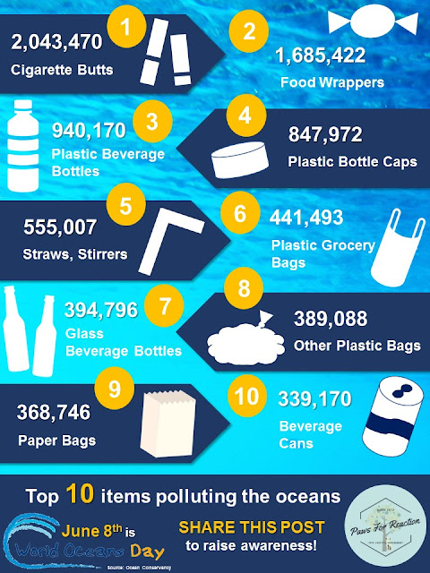 World Oceans Day June 8 plastic top 10 items polluting the oceans