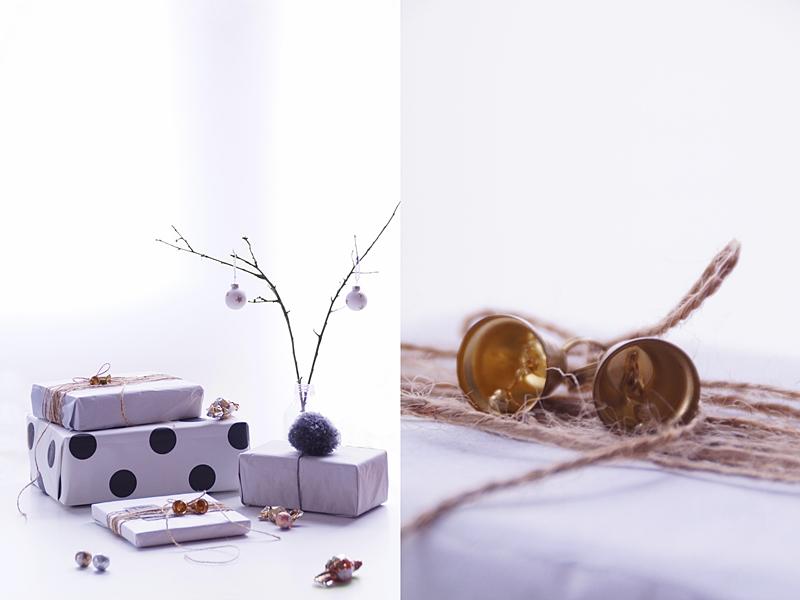 Weihnachtsgeschenke kreativ verpacken mit Seidenpapier, Tapetenmustern, Bommeln, Glöckchen etc. in Naturtönen und Gold   DIY