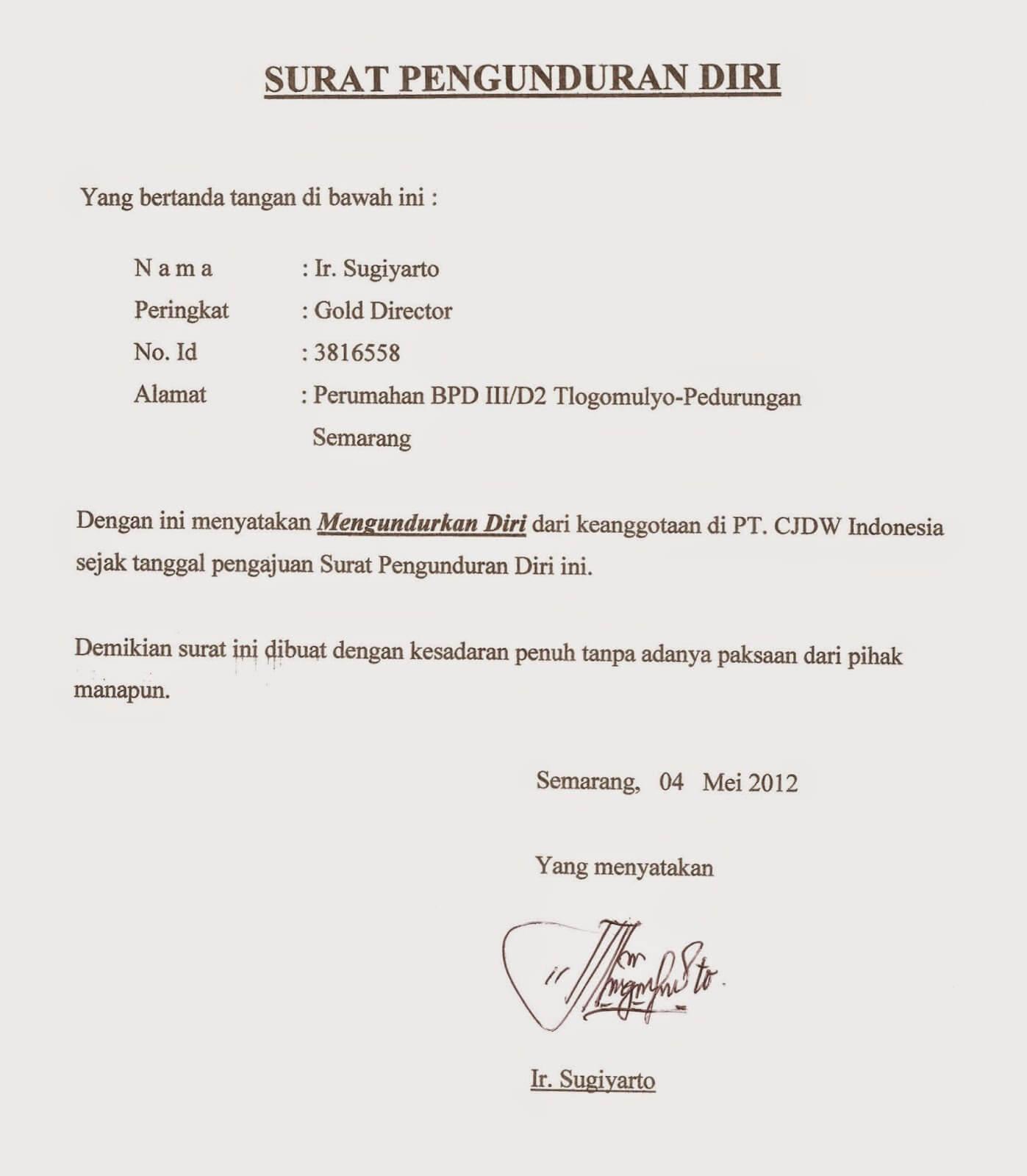 Surat Pengunduran Diri Dari Bendahara Rt Surat Kerja M