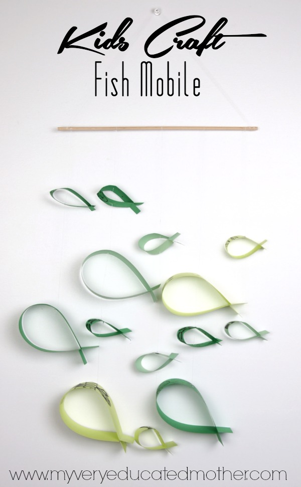 These are a fun kids craft to make and use to decorate your little one's bedroom! Fish Mobile