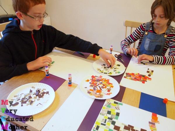 Glueing Paper Mosaic