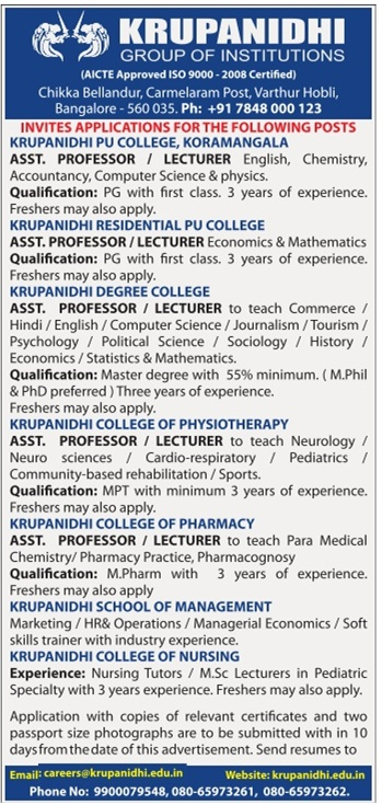 krupanidhi of institutions bangalore wanted