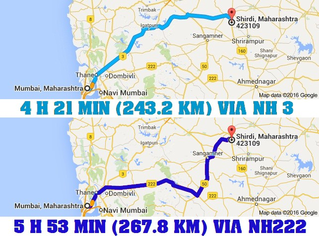 Mumbai To Shirdi Road Map Road Distance Between: Road Distance Between Mumbai to Shirdi with Map