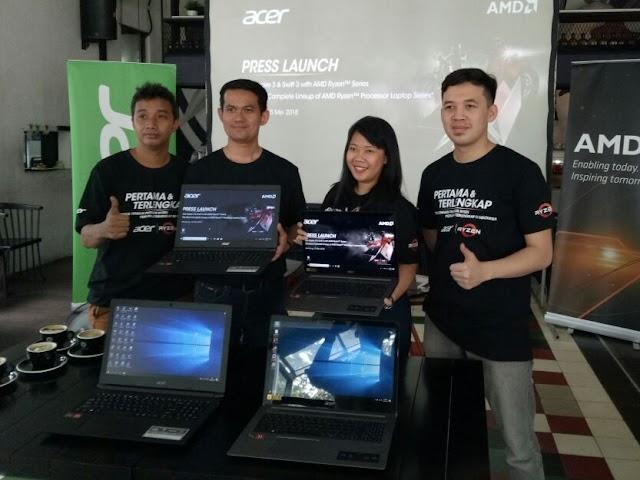 Acer Perkenalkan Aspire 3 dan Swift 3 AMD Ryzen Series di Bandung