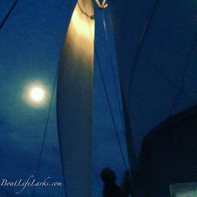 sailing our Lagoon 380 catamaran at night
