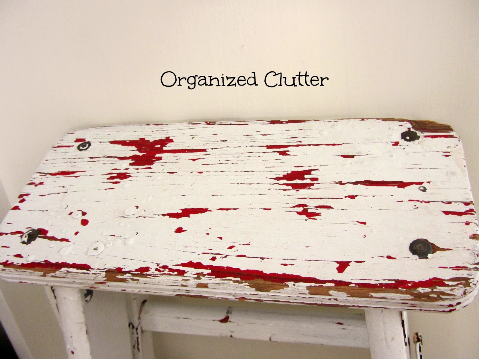 A Chippy, Shabby, Little Step Stool www.organizedclutterqueen.blogspot.com