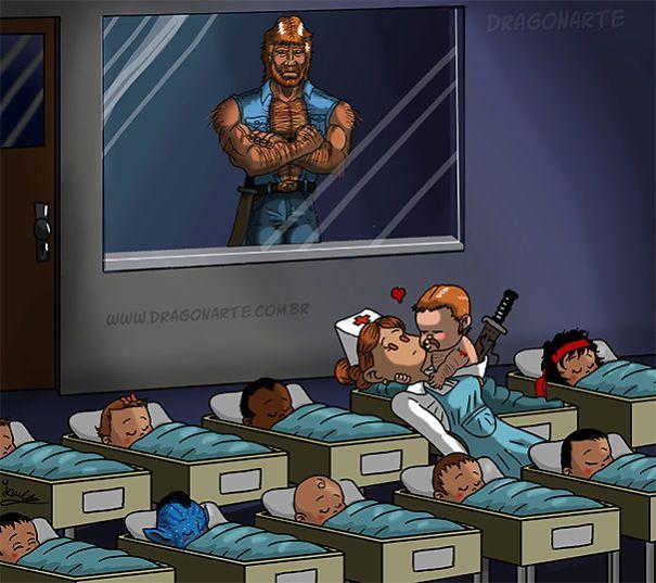 Chuck Norris's baby;ابطال خارقون مع أطفالهم