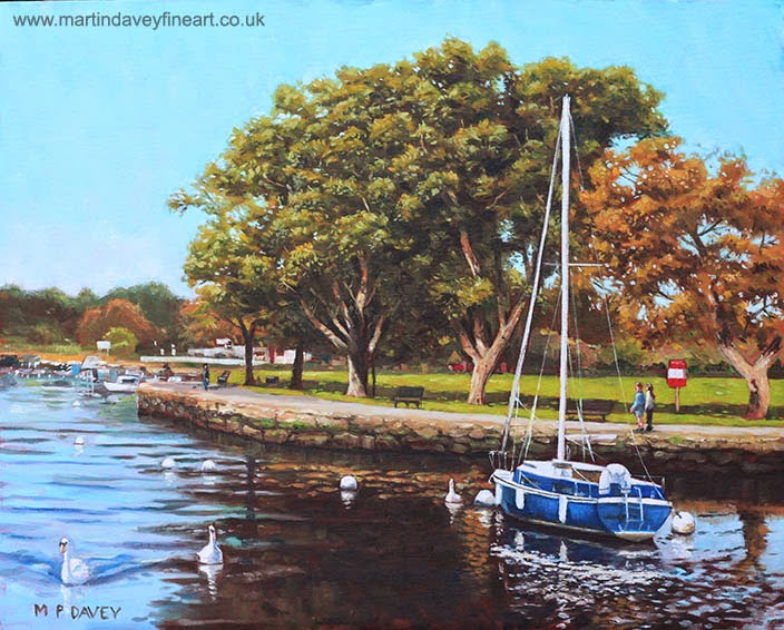 Sailing Boats and Yachts on the River Stour Christchurch-oil painting