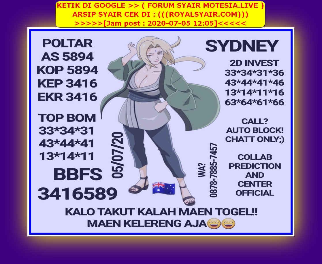 Kode syair Sydney Minggu 5 Juli 2020 16