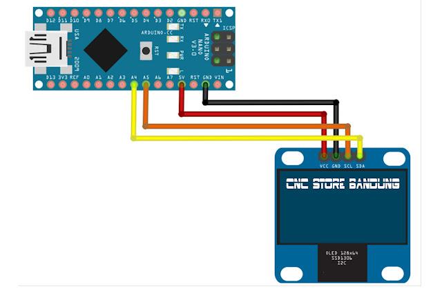 OLED 0.96 INCH I2C 128X64 Menggunakan Arduino Nano