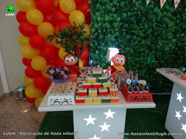 Decoração da mesa do parabéns com a Turma da Mônica