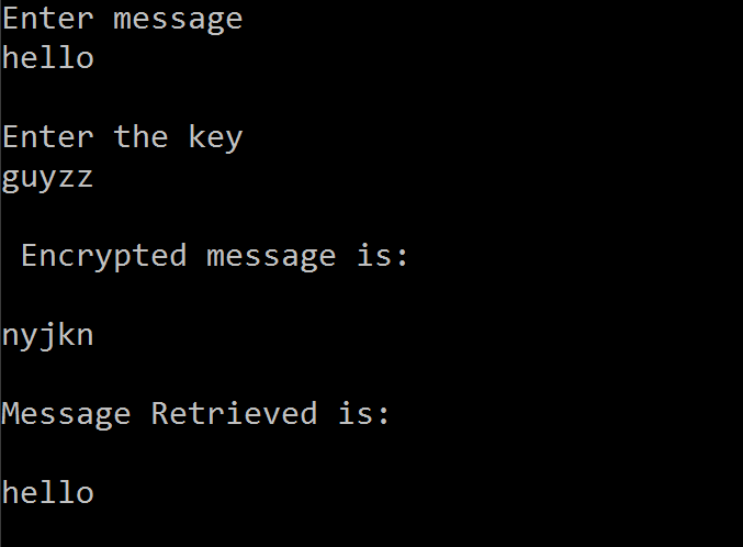 C code to encrypt and decrypt a message using Vernam Cipher