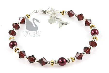 Burgundy Crystal Cystic Hygroma Awareness Bracelet (BA216)