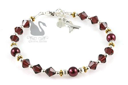 Burgundy Crystal Cystic Hygroma Awareness Bracelet (BA216)