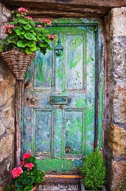 shabby old green door