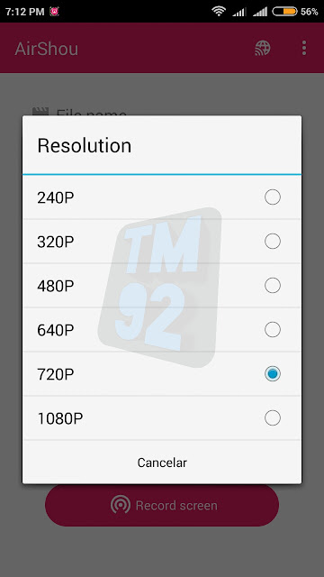 Airshou Screen Recorder Android resolucion