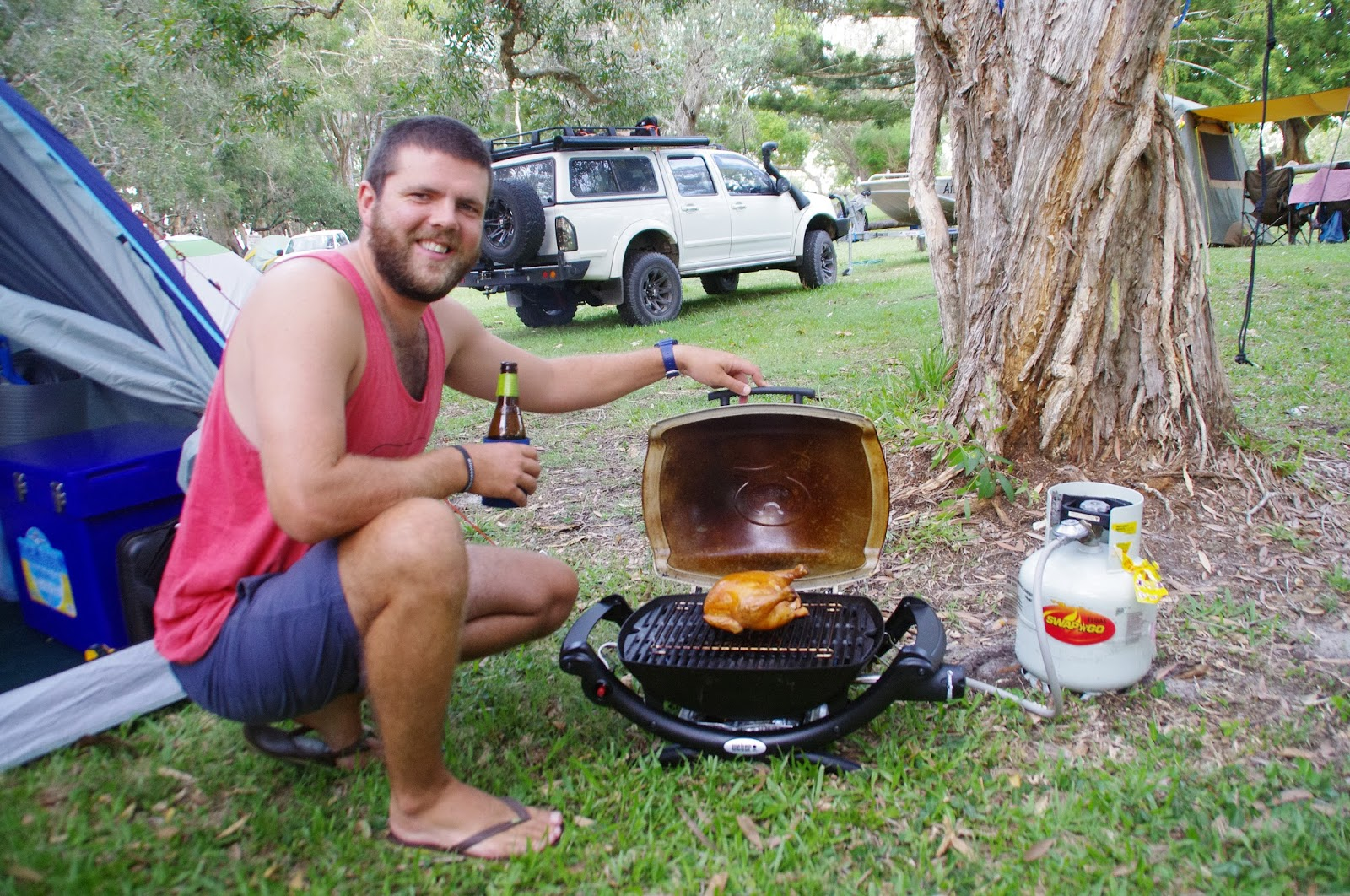 Cooking whilst Camping on North Stradbroke Island