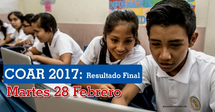 COAR: Resultado Final 2017 (28 Febrero) Lista de Ingresantes a Colegios de Alto Rendimiento - MINEDU - www.minedu.gob.pe
