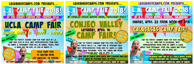 Three images side-by-side advertisting the UCLA, Conejo Valley and Calabasas 2018 Los Angeles Summer Camp Fairs