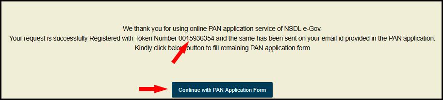 online pan card token number