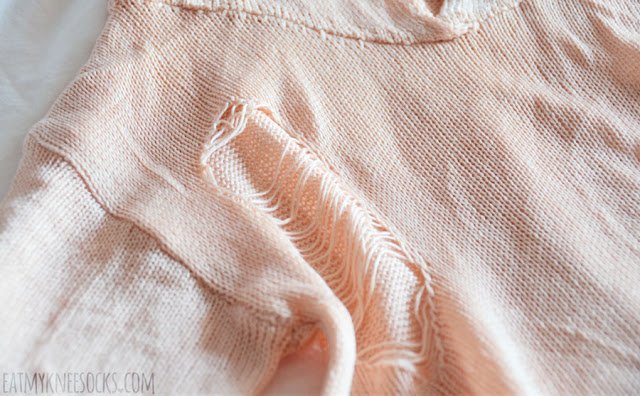 Peach pink ripped distressed cutout hooded sweater from Romwe