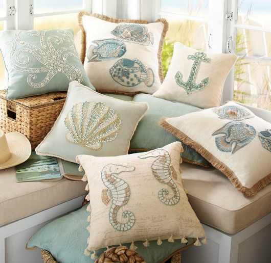 Beaded Coastal Pillows