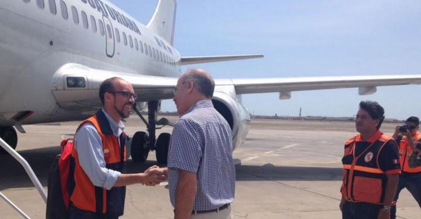 Llegó avión de Ecuador con ayuda para damnificados por desastres naturales