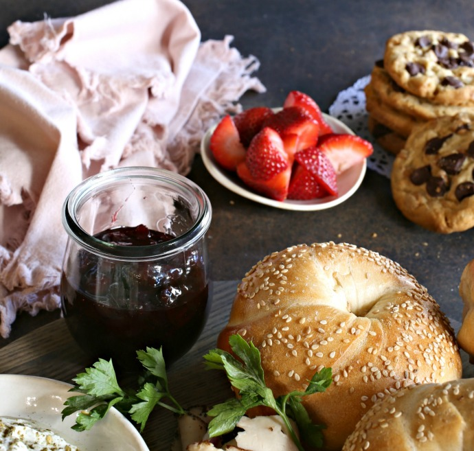Yogurt cream cheese flavored with za'atar and tips on setting up a bagel brunch.