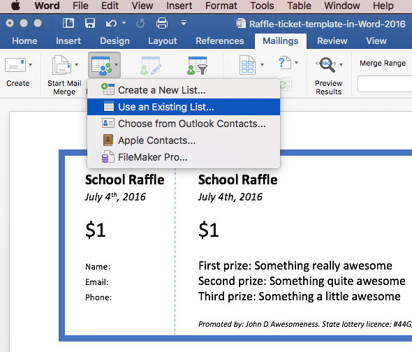 Print raffle tickets using a template in Office Word 2016 – Contacts Template Word