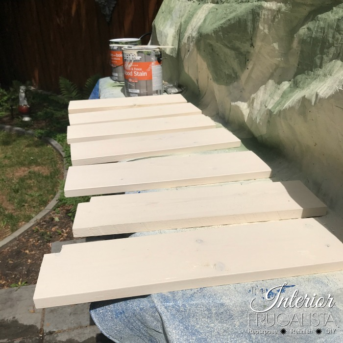 Headboard Garden Bench Stained Seat Slats