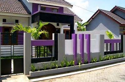 Warna cat pagar rumah ungu sederhana