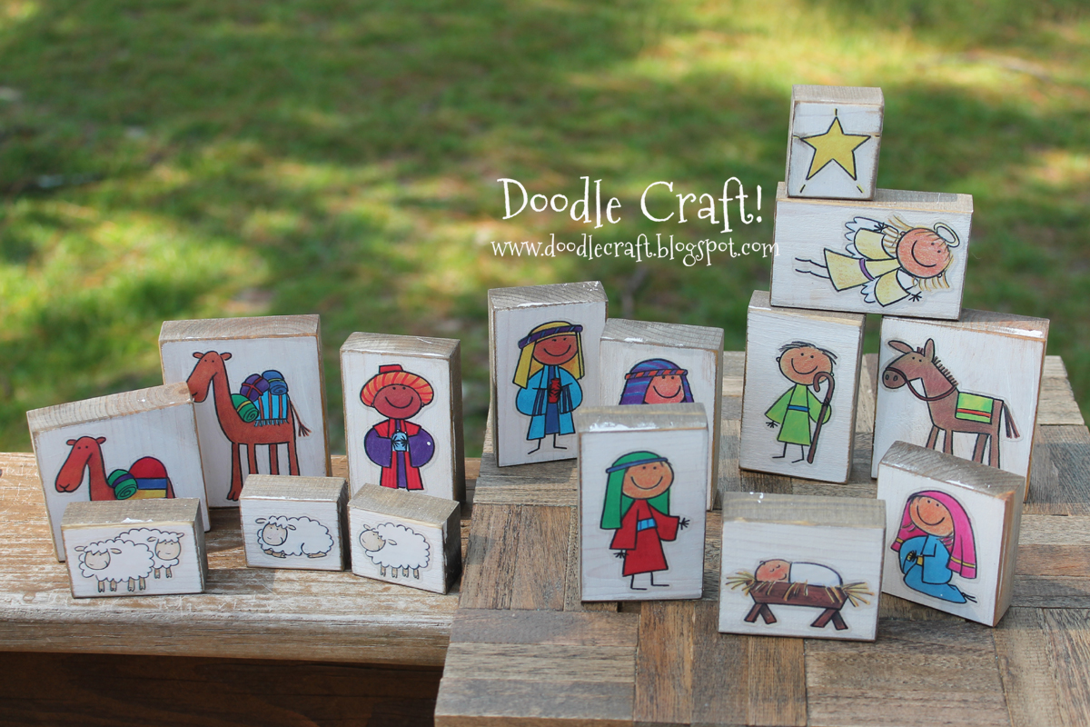 Doodlecraft kid friendly wood block nativity set for Nativity crafts to make