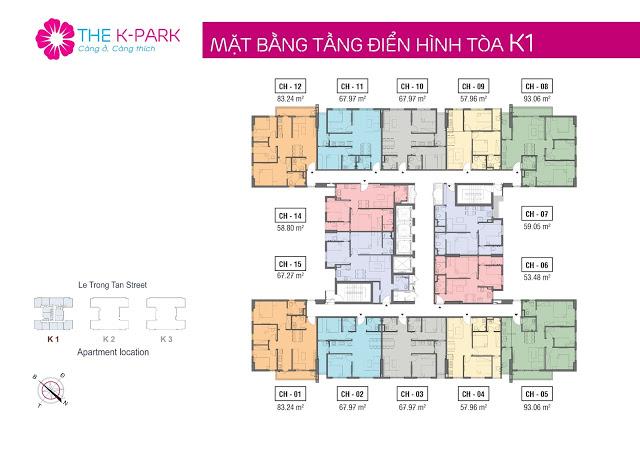 Mặt bằng tầng điển hình tòa K1, chung cư The K-Park