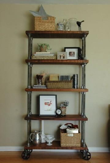 Industrial Chic Wheeled Iron Shelves Swoon Worthy