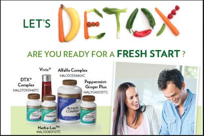 set detox shaklee, vivix, herblax, alfalfa