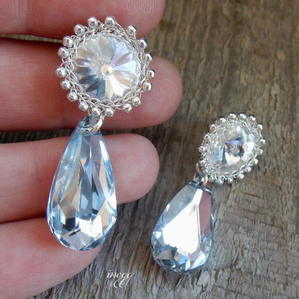 kolczyki ślubne z kryształami Swarovskiego