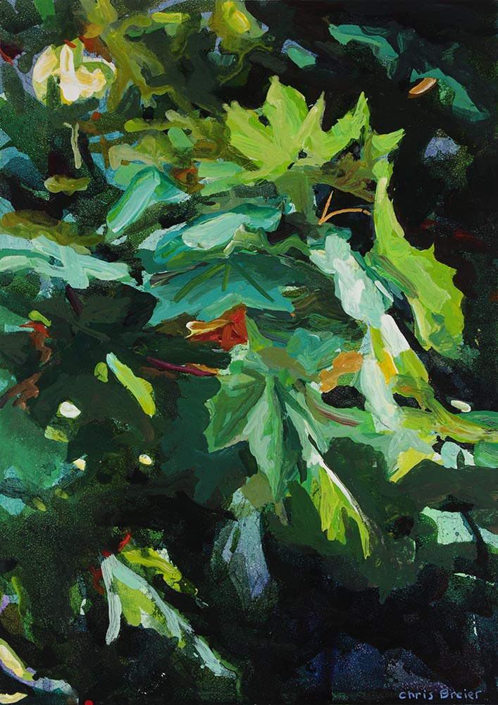 An acrylic painting of maple leaves